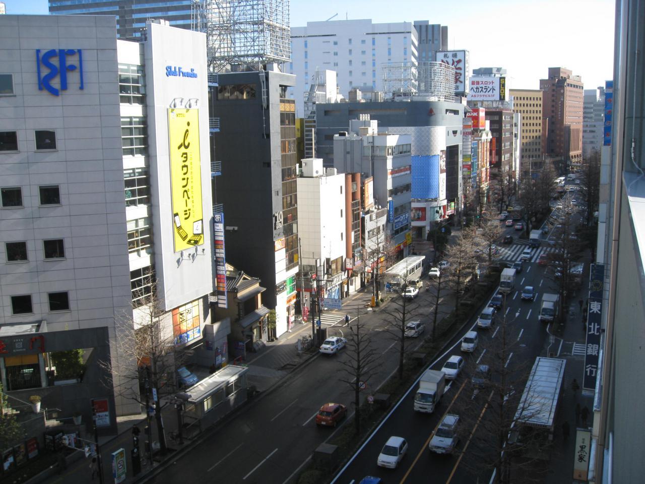 上から見る広瀬通り:仙台の風景...